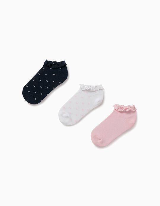 3 paires de chaussettes avec dentelle fille, blanc/bleu/rose