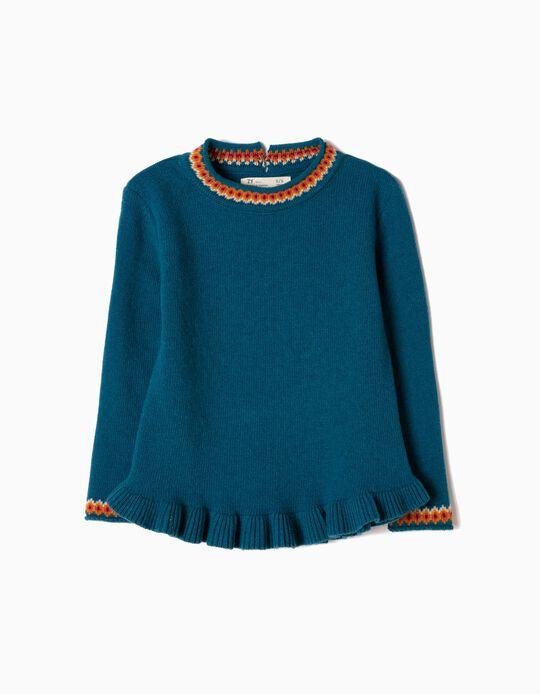 Camisola de Malha Jacquard Azul
