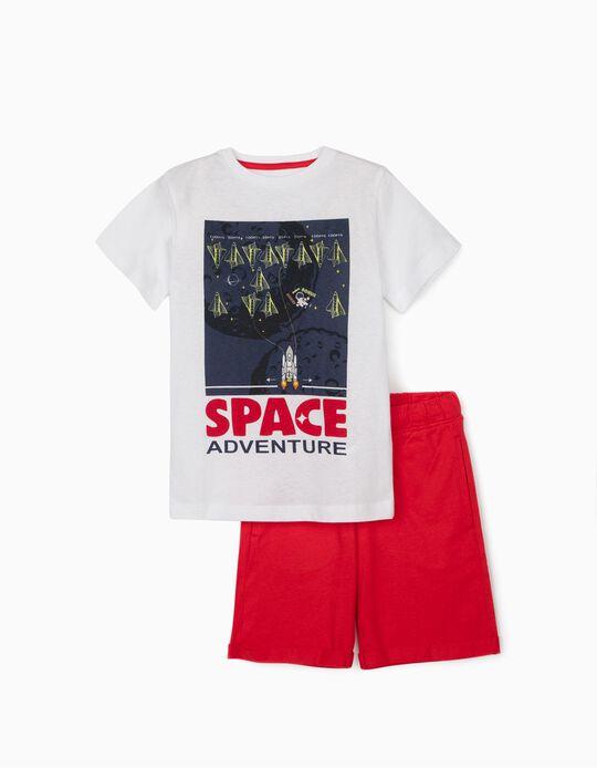 T-shirt e Calções para Menino 'Space Adventure, Branco/Vermelho
