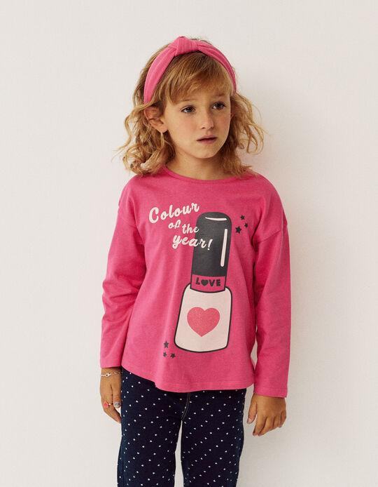 Camiseta de Manga Larga para Niña 'Nail Polish', Rosa
