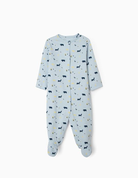 Long Sleeve Sleepsuit for Newborn Baby Boys, 'WH', Blue