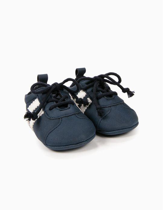 Sapatilhas para Recém-Nascido com Cordões, Azul e Branco