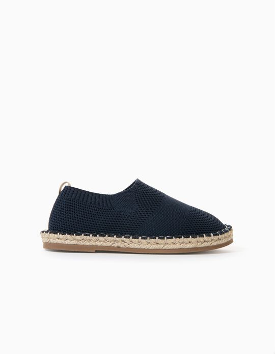 Knitted Slip-On Shoes for Boys, Dark Blue