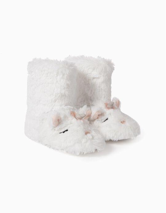 Zapatillas de Casa de Caña Alta para Niña 'Unicorn', Blancas