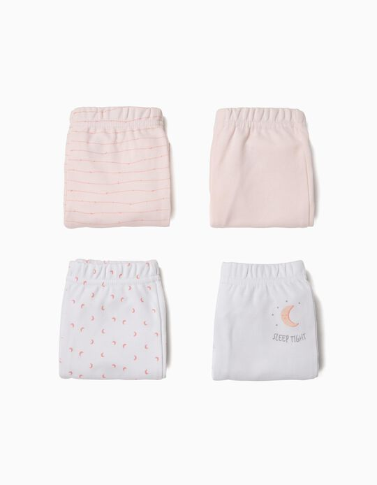 4 Pantalones para Recién Nacido 'Sleep Tight', Rosa y Blanco