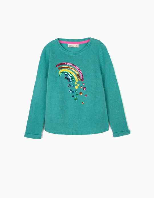 Camisola de Malha para Menina 'Rainbow', Azul