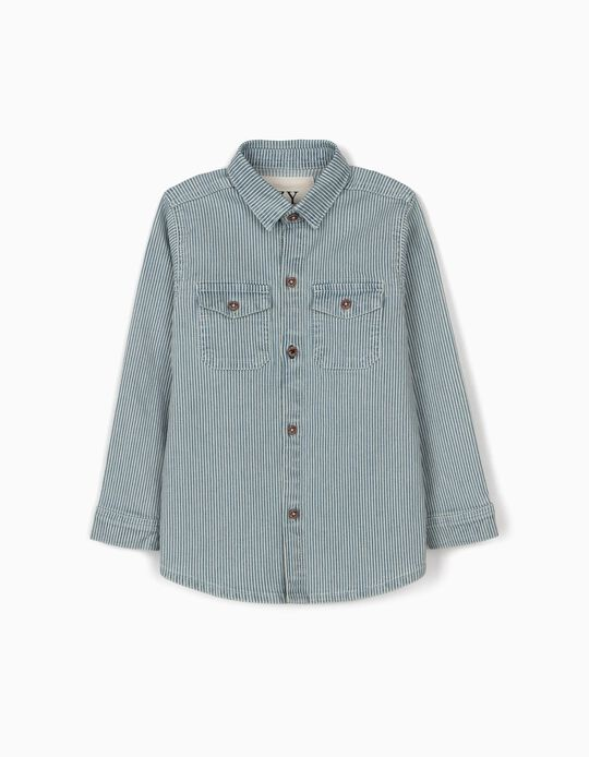 Striped Overshirt for Boys, Blue