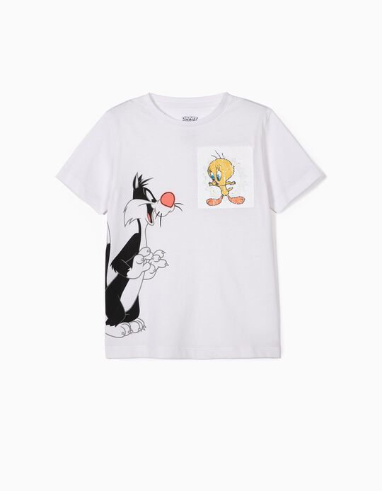 Camiseta para Niño 'Silvestre & Piolín', Blanca