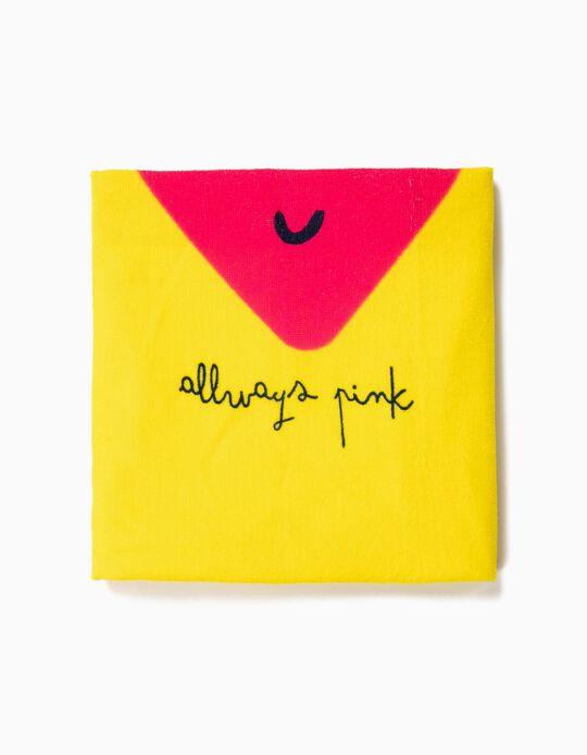 Toalla de Playa para Niña 'Always Pink', Amarilla y Rosa