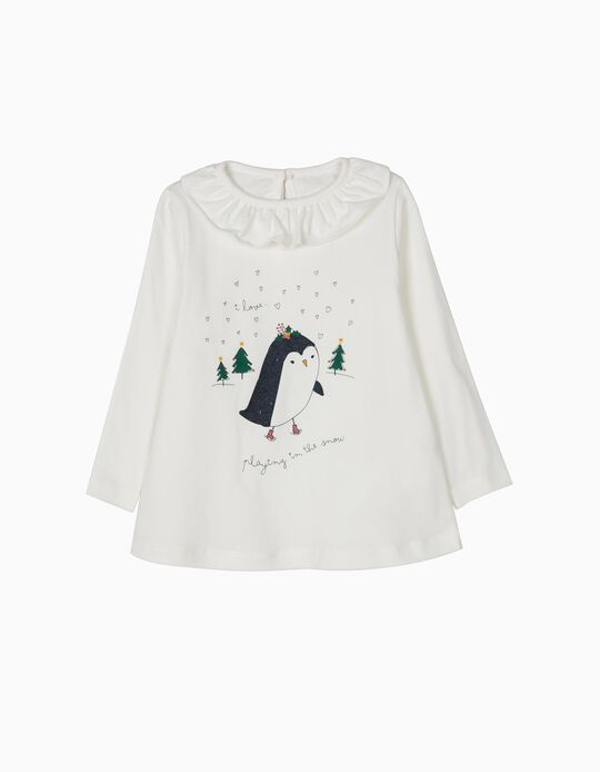 T-shirt Manga Comprida Christmas Snow Branca