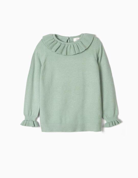 Camisola de Malha para Menina com Folhos, Verde