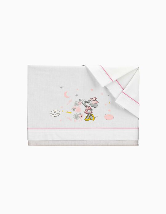 Sábanas de Cama 120x60 cm Minnie Disney Blanco/Rosa 3 piezas