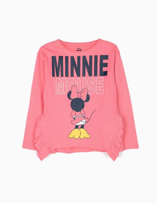 T-shirt Manga Comprida Minnie Mouse Rosa