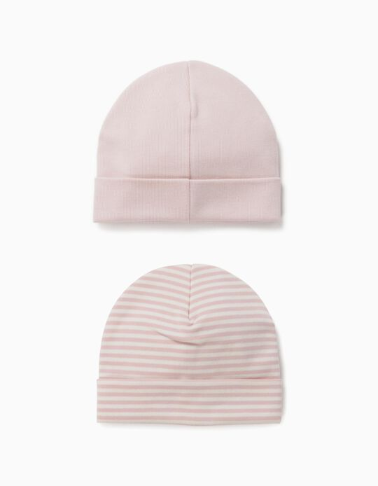 2 Beanies for Newborn Baby Girls, Pink/White
