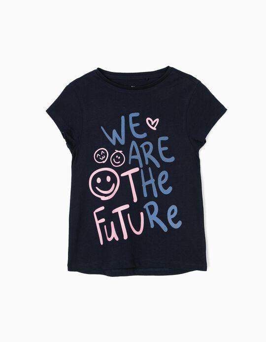 T-shirt para Menina 'Future', Azul Escura