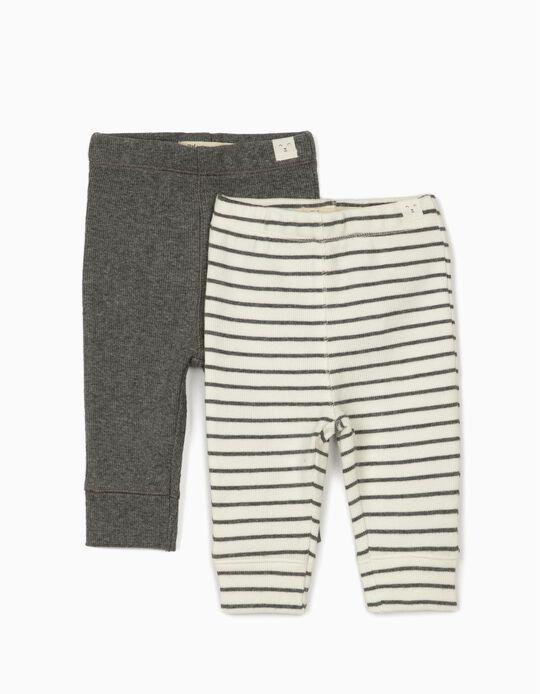 2 Pantalón de Canalé para Recién Nacido, Gris/Blanco