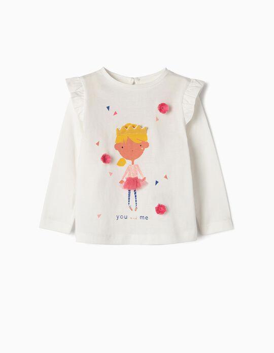 Camiseta de Manga Larga para Bebé Niña 'You and Me', Blanca