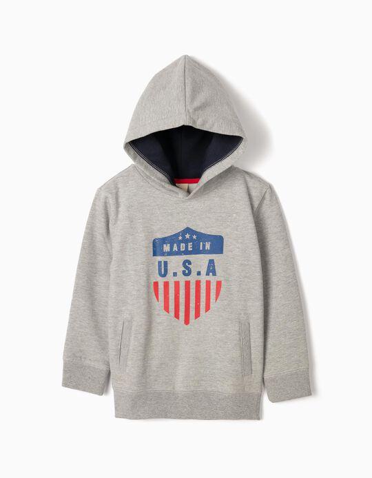 Sweatshirt com Capuz para Menino 'USA', Cinza