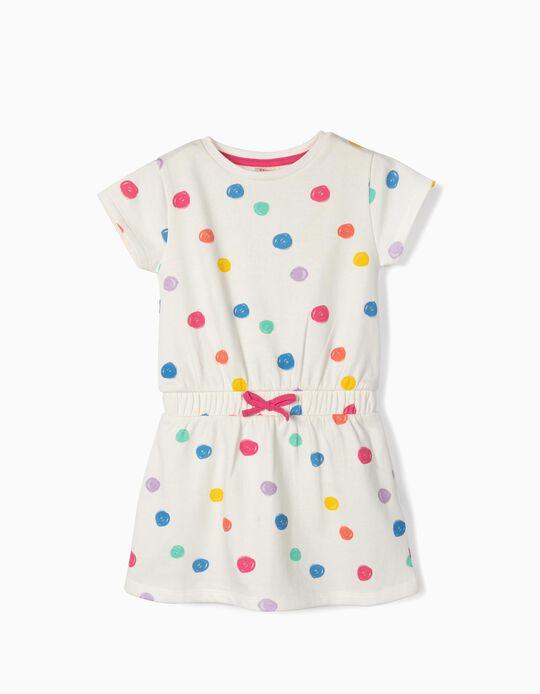 Vestido para Menina 'Colourful Dots', Branco