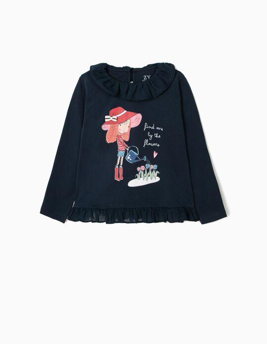 Camiseta de Manga Larga para Niña 'Chasing Dreams' con Volantes, Azul