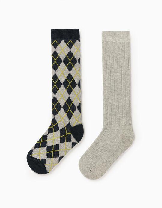 2 Knee-High Socks for Children, Grey/Dark Blue
