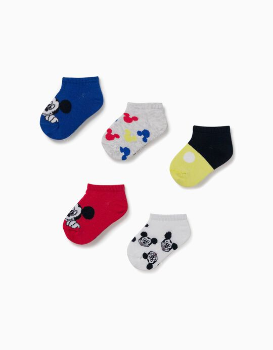 5 Pairs of Ankle Socks for Baby Boys, 'Mickey Mouse', Multicoloured