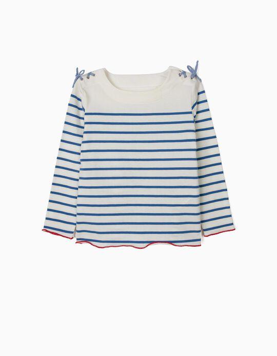 Camiseta de Manga Larga para Niña a Rayas, Blanca y Azul