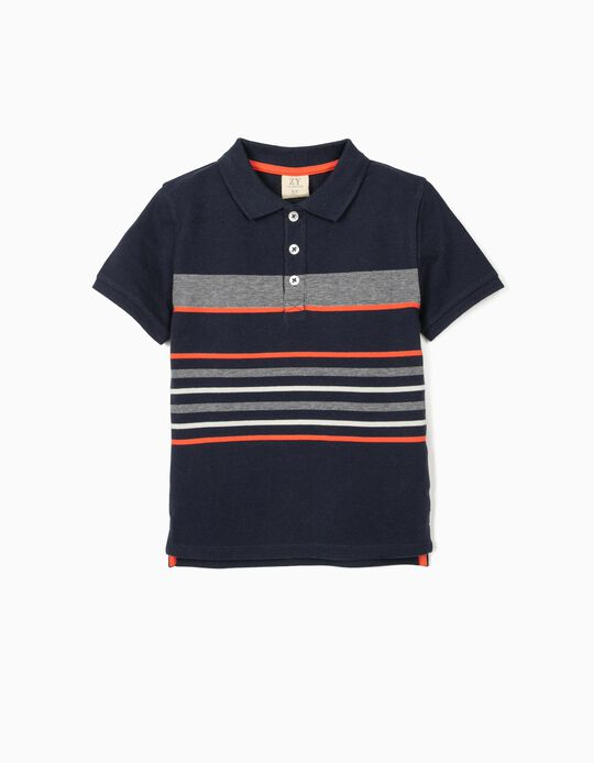 Striped Polo Shirt for Boys, Dark Blue