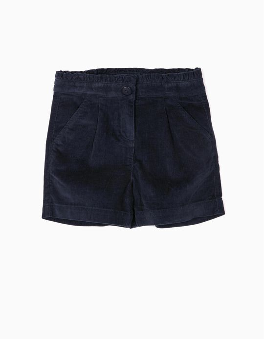 Corduroy Shorts for Girls, Dark Blue