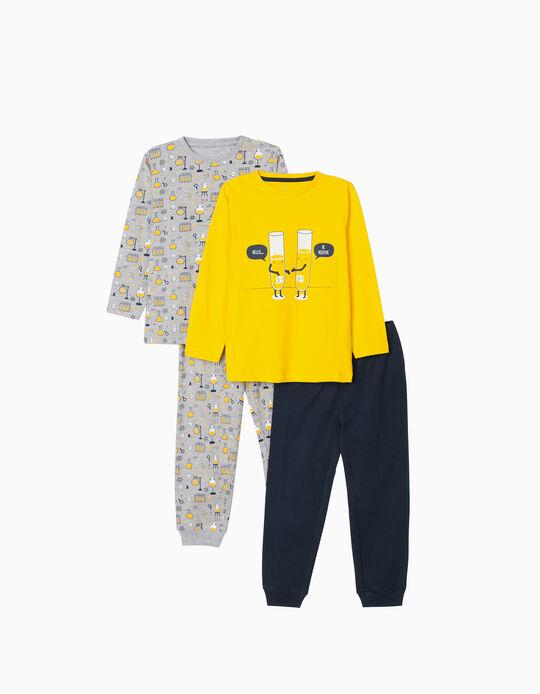 2 Long Sleeve Pyjamas for Boys, 'Be Positive', Yellow, Grey, Blue
