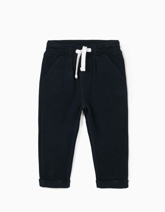 Piqué Knit Joggers for Baby Boys, Dark Blue