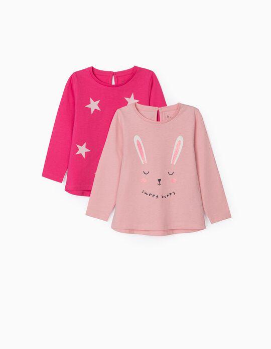 2 T-shirts Manga Comprida para Bebé Menina 'Sweet Bunny', Rosa
