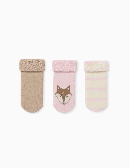 3 Pares de Calcetines para Bebé Niña 'Fox', Multicolor