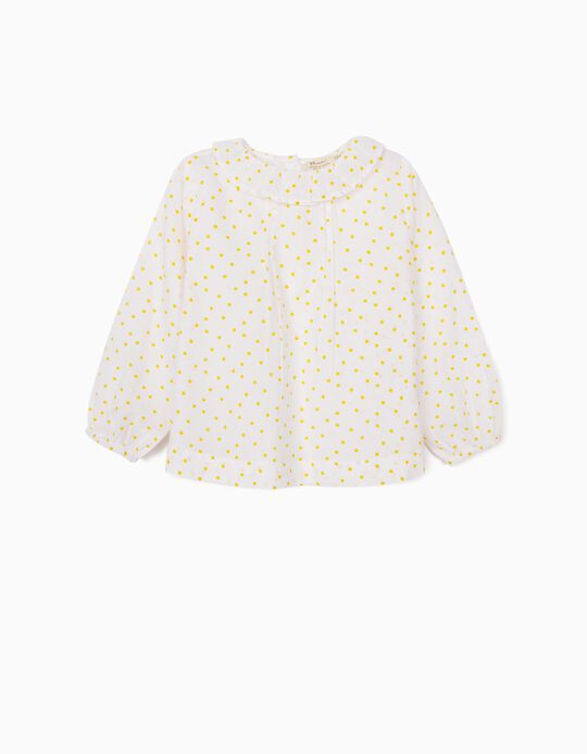 Blouse for Baby Girls, 'Dots', White/Yellow