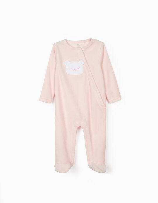 Velour Sleepsuit for Baby Girls 'Cute Bear', Pink