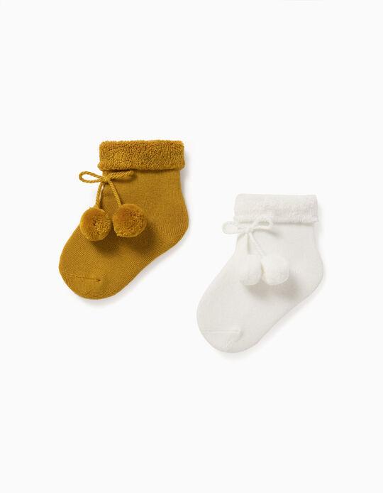 2 Paires de Chaussettes Bébé, Blanc/Jaune