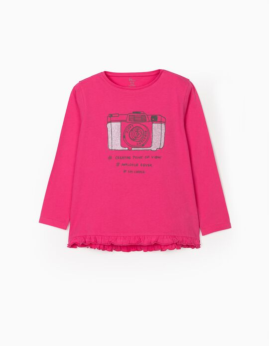 T-shirt Manga Comprida para Menina 'Analogue', Rosa