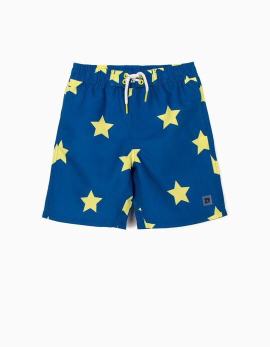 Swim Shorts with UV 80 Protection for Boys, 'Stars', Blue