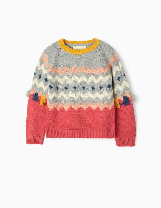 jersey para Niña con Flecos, Multicolor