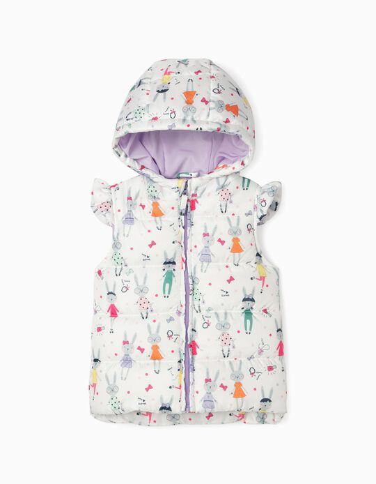 Padded Bodywarmer with Hood for Baby Girls, 'Bunnies', White