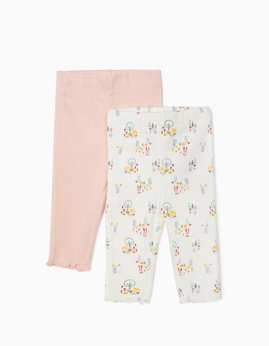 2 Pairs of Trousers for Newborn Baby Girls, White/Pink