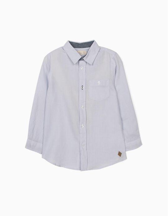 Camisa Manga Comprida Riscas para Menino, Azul