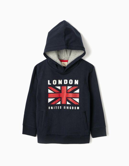 Sudadera con Capucha para Niño 'London', Azul Oscuro