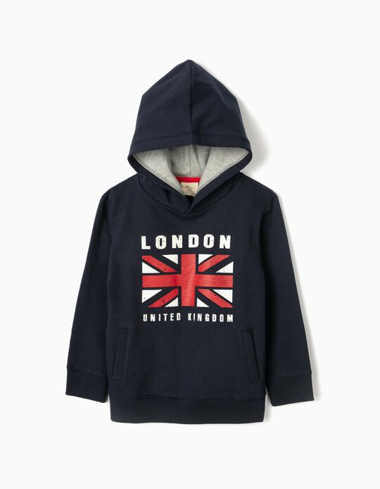 Sweatshirt com Capuz para Menino 'London', Azul Escuro
