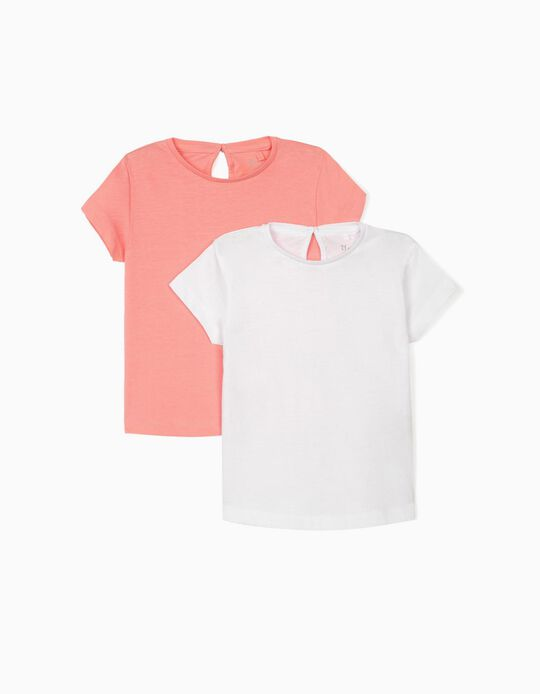 2 T-shirts for Baby Girls, White/Pink