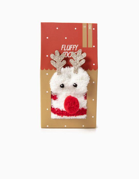 Meias Natal com Aplicações 3D Rena Branca