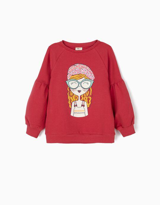 Sweatshirt para Menina com Laço, Vermelha