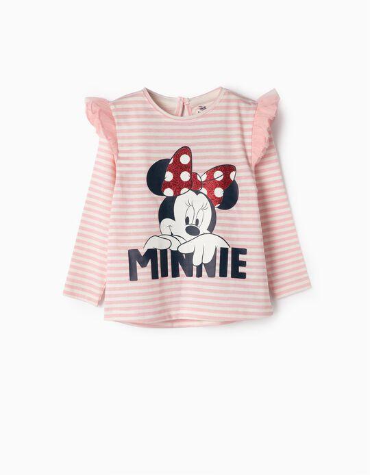 Camiseta para Bebé Niña 'Minnie', Rosa y Blanca