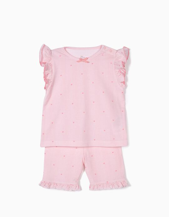 Pijama para Bebé Niña a Rayas y Flores, Rosa