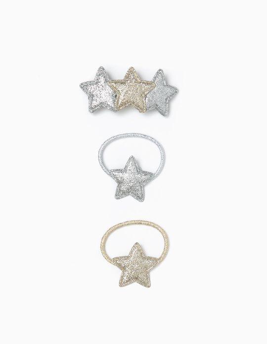 2 Gomas del Pelo + Pasador del Pelo para Niña 'Stars', Dorado/Plateado